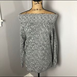 EXPRESS OFF THE SHOULDER RIBBED  KNIT SWEATER